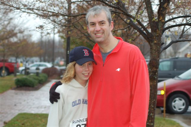 The runners on a very rainy Thanksgiving morning